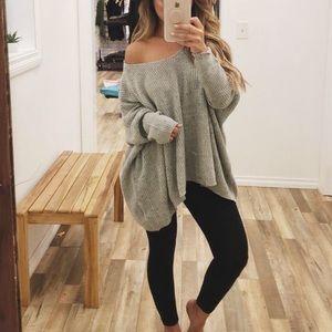Oversized Grey Chunky Sweater